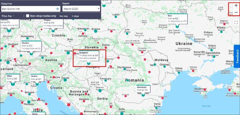 טיסות זולות מופיעות כבר על המפה. הנקודות האדומות מאפשרות חיפוש בלחיצה
