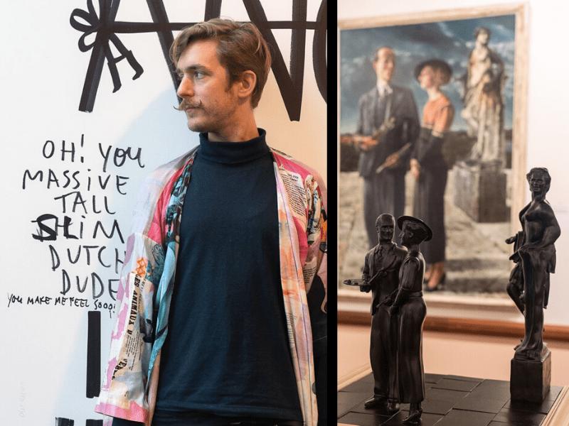 Van Abbemuseum | מימין: מנגישים את הציור ללקויי ראייה באמצעות דגמים שניתן למשש | משמאל: ריק מדגמן את אחת העבודות בתצוגה הקוורית של המוזיאון, במטרה לעורר שיח